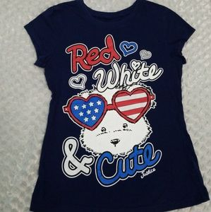 """Justice """"Red white and cute"""" short sleeve shirt"""